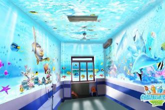 Per i bambini ricoverati una stanza dipinta come un acquario