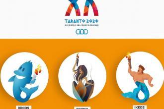 Simbolo e tre mascotte, da votare, per i Giochi del Mediterraneo