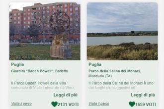 """Cinque parchi della Puglia in concorso per """"Puliamo il tuo parco"""""""